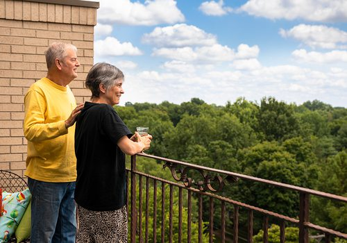 Alex and Cathy Primm on their home balcony in Springfield MO