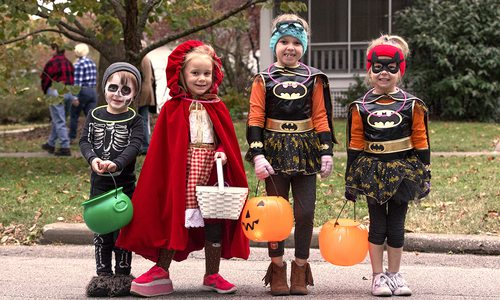 Young trick or treaters in the Rountree neighborhood in Springfield MO