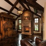 Slider Thumbnail: Tudor style office with Rumford fireplace and Cyprus floors.