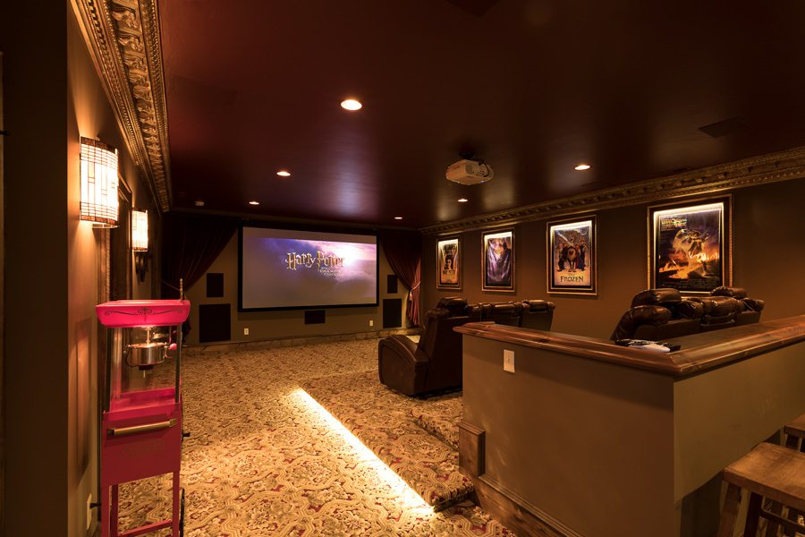 Home theater modeled after The Fabulous Fox Theatre in St. Louis.