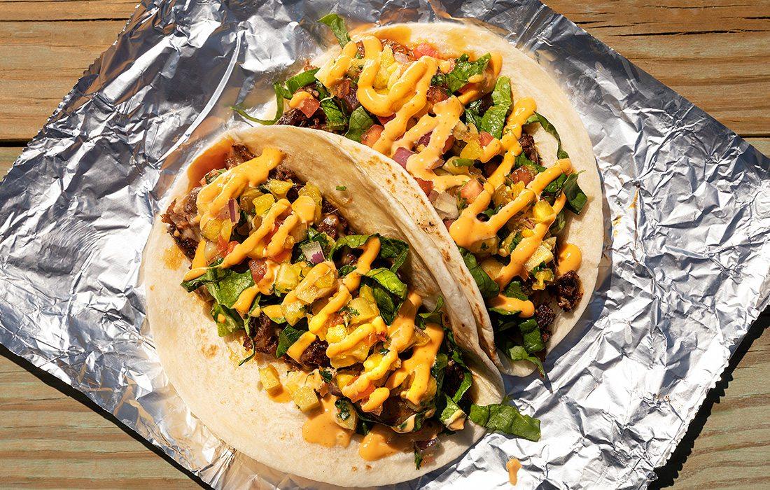 Hawaiian Surf N Turf tacos at Not'cho Ordinary Taco truck in Springfield MO