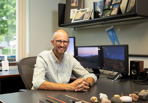Ryan Mooney, Senior Vice President, Economic Development at the Springfield Area Chamber of Commerce in his office