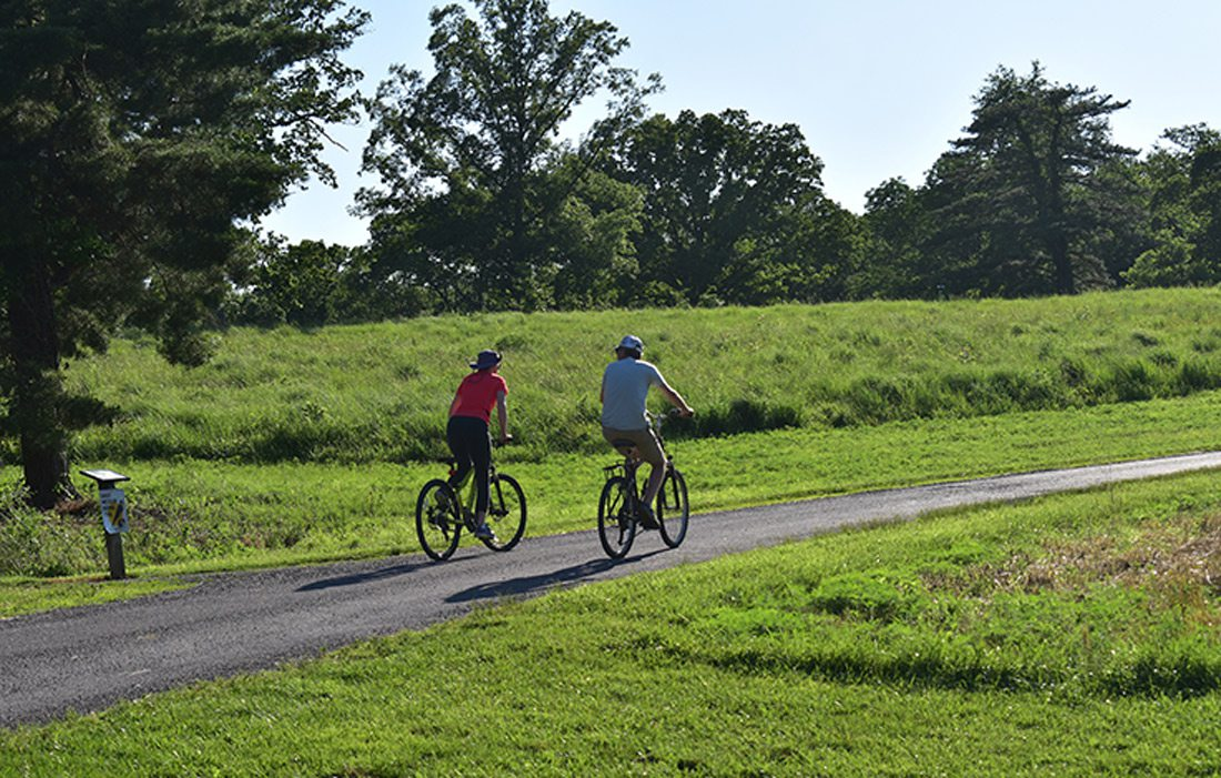 Two bikers on trail.