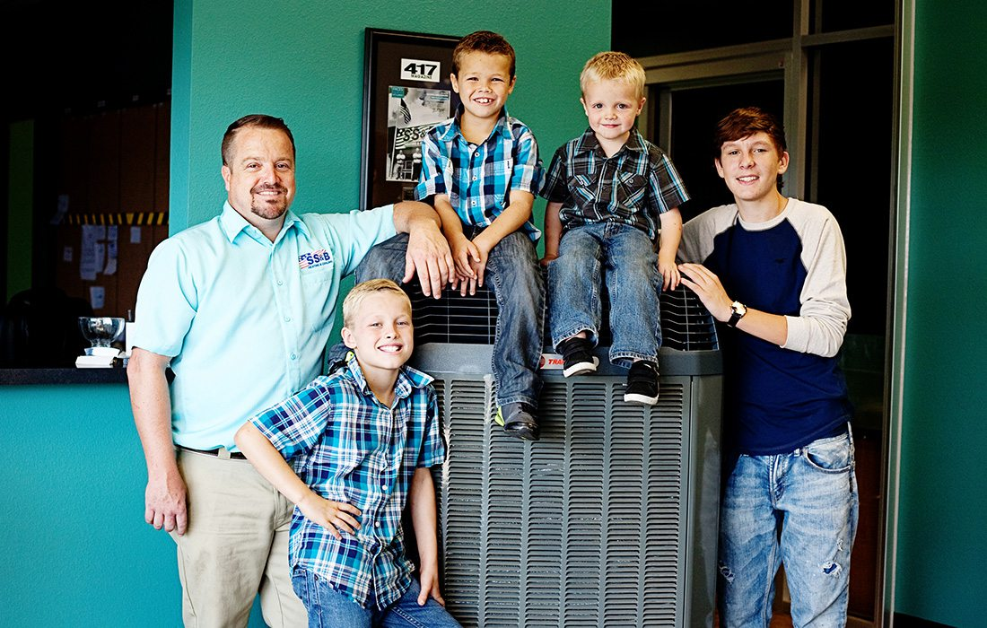 SS&B Heating & Cooling owner Jeremy Grisham and his sons in Springfield MO