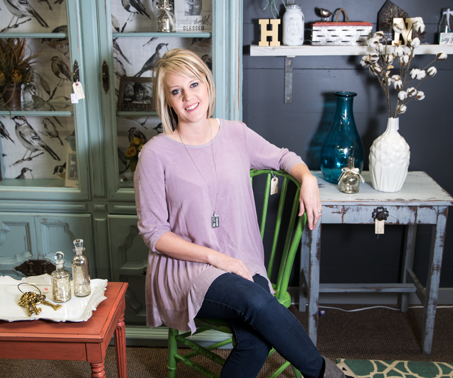 Owner Mandy Mackey of Little Bluebird Vintage Boutique.