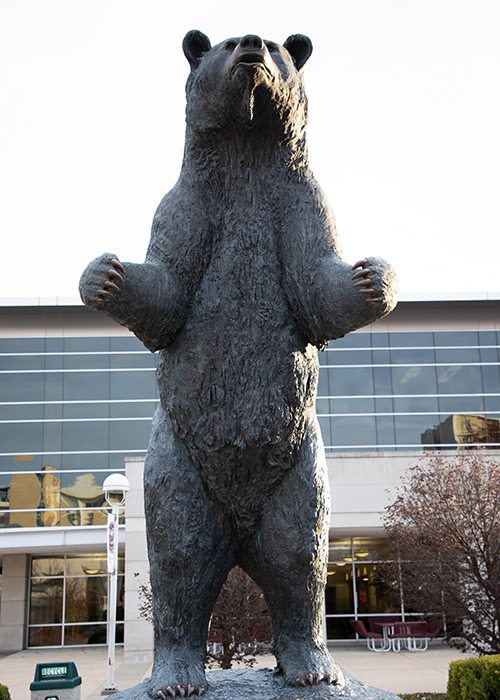 Bear statue on the Missouri State University campus