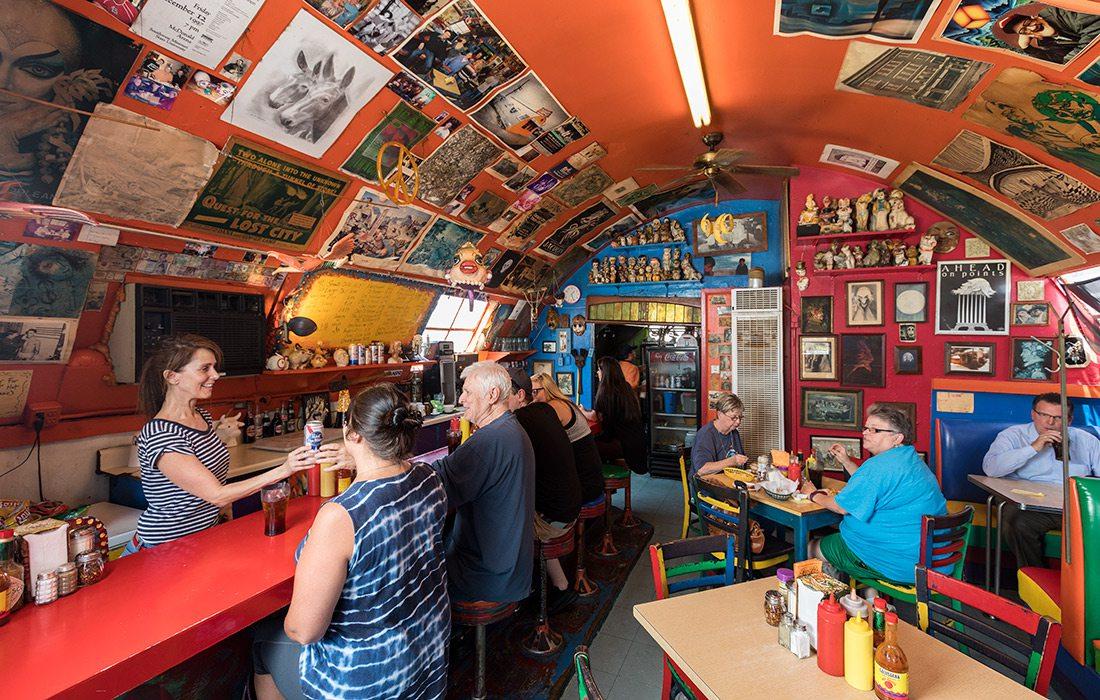 Bright orange interior of Casper's in downtown Springfield MO