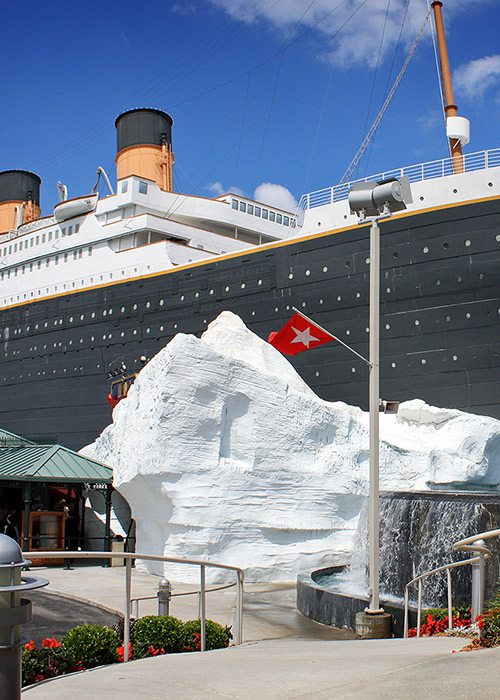 Iceberg sculpture outside Titanic Branson museum