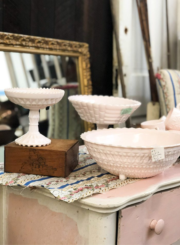Ceramics bowls and mirror.