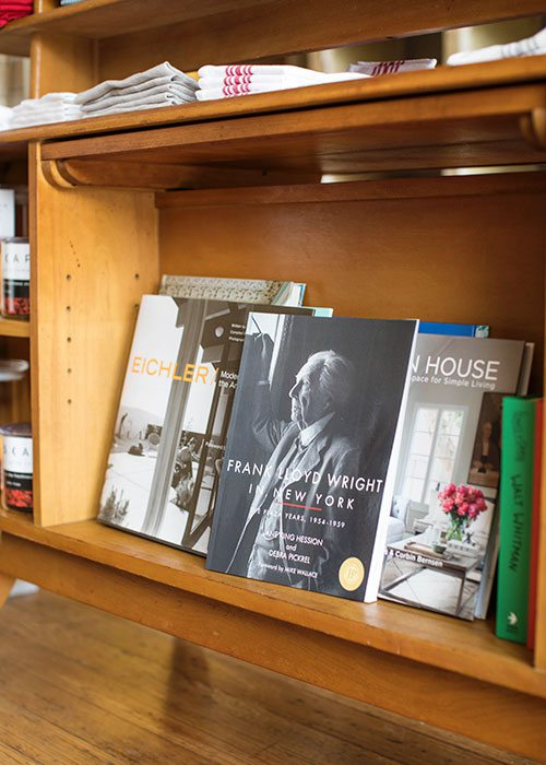 frank lloyd wright book on midcentury modern bookshelf