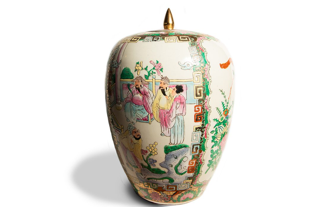 Asian-inspired chinoiserie cream colored with colorful art
