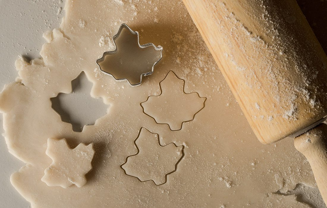 Chestnut shortbread cookies with leaf cookie cutters