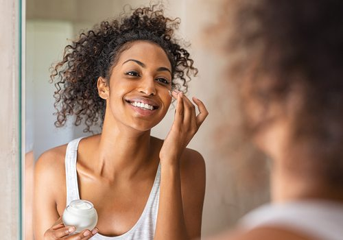 Young woman skincare routine