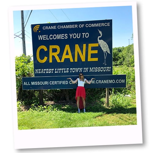 Snap an Instagram picture in front of the Crane, Missouri welcome sign.