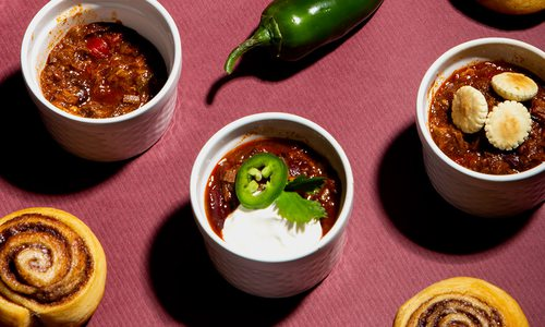 Smoked brisket chili and cinnamon rolls