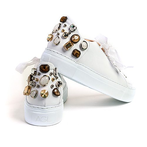 Attilio Giusti Leombruni white jeweled sneaker, $470 at Harem & Co