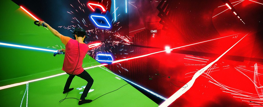 Logan Theobald playing Beat Saber