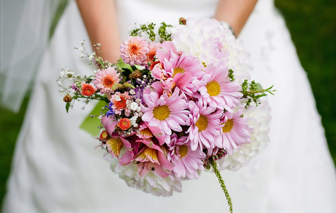 Bouquet of spring flowers for a winter wedding
