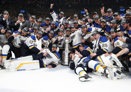 St. Louis Blues with trophy