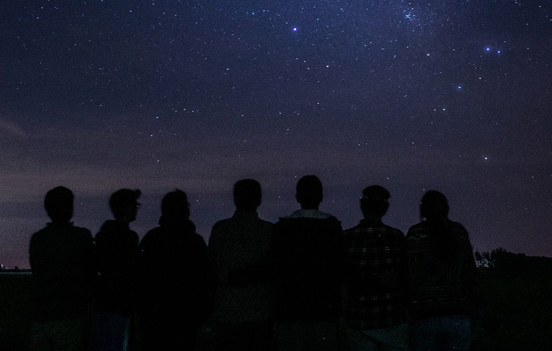 Group of people stargazing