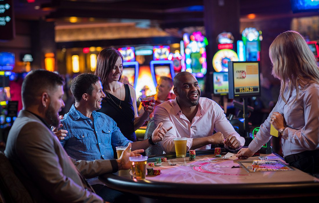 Group playing card games at Downstream Casino in Oklahoma