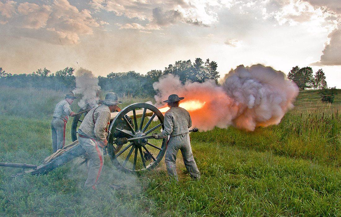 Cannon blast reenactment at Wilson's Creek National Battlefield in southwest Missouri