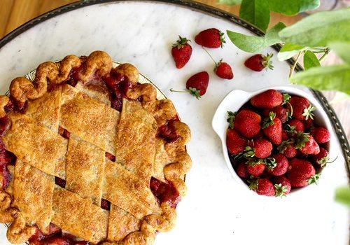Strawberry rhubarb pie from Prairie Pie in Springfield MO