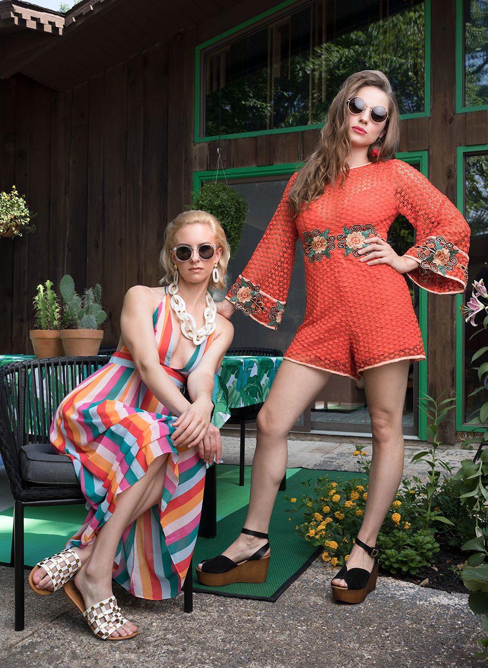 stylish women in backyard garden