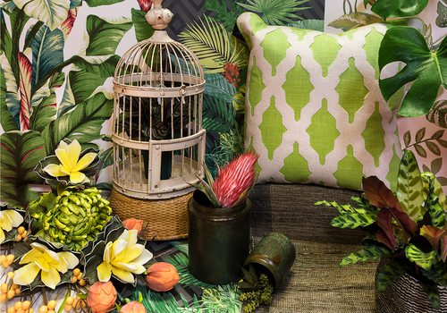 jungle themed home decor and tropical plants