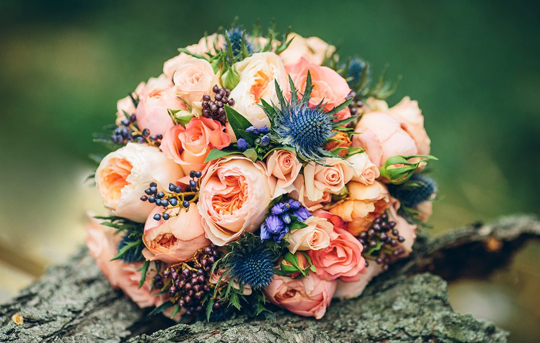 Bouquet of summer flowers for a winter wedding
