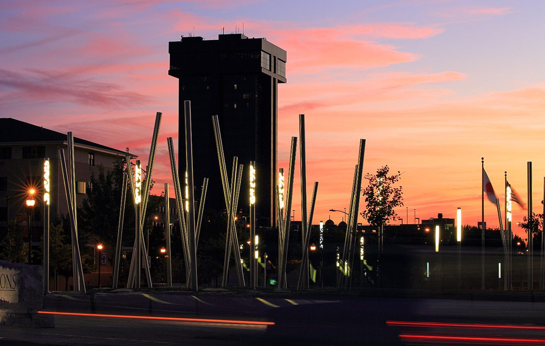 Sunset behind Hammons Tower and Jordan Valley Park Springfield MO