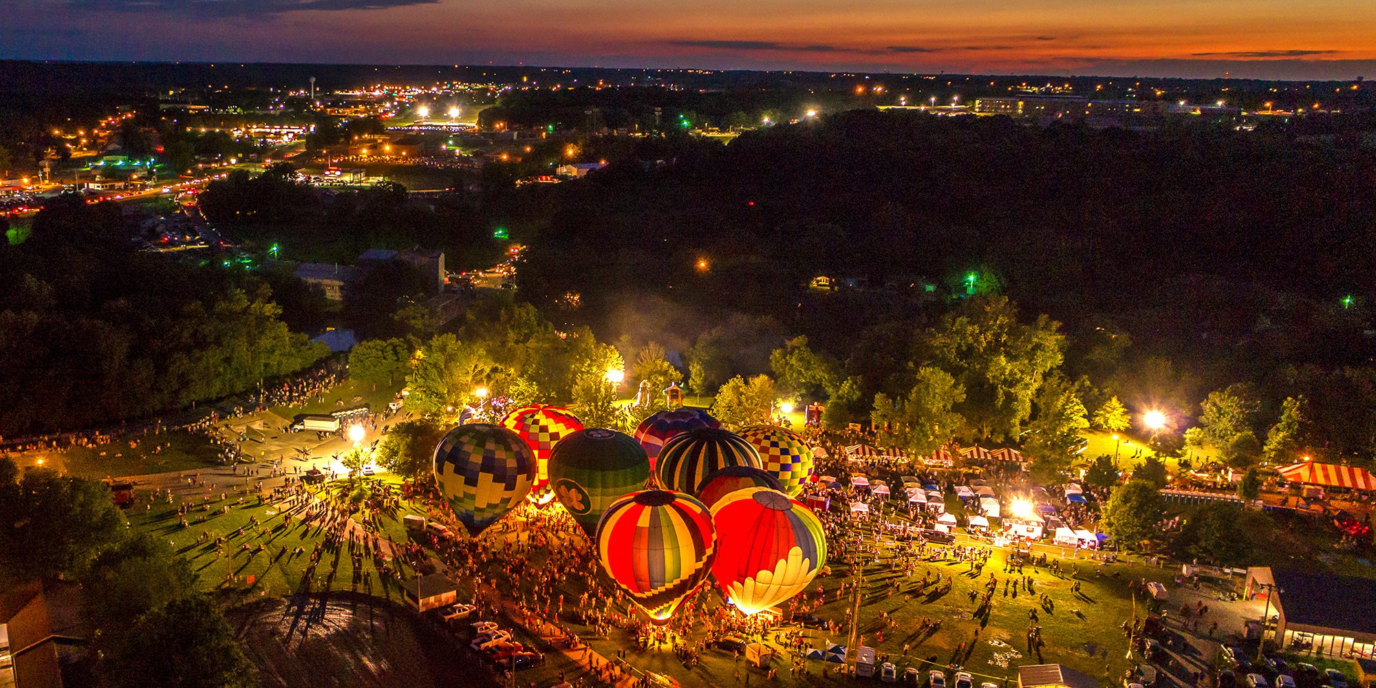 Hot Air Balloon Glow in Ozark Missouri