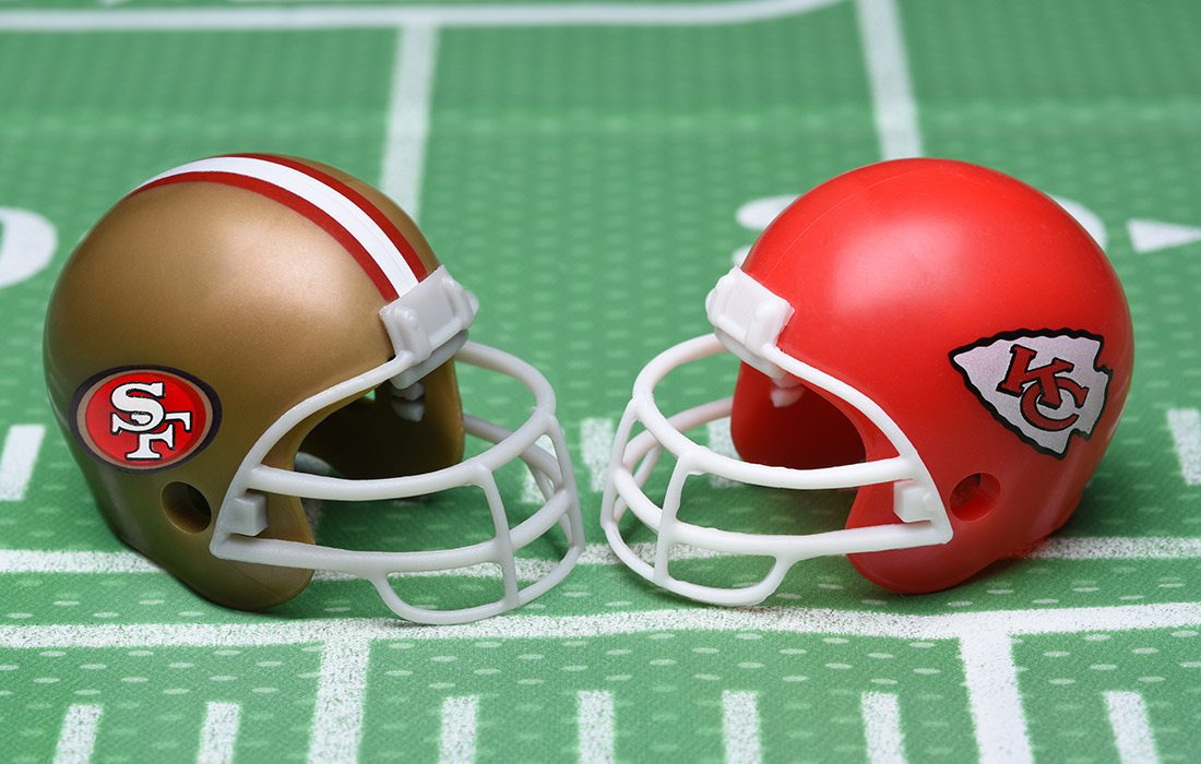 San Fransisco 49ers and Kansas City Chiefs football helmets