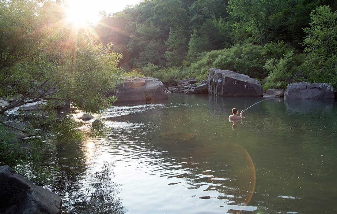 At Richland Creek Campground, there is nowhere better to spend dusk than in the water.