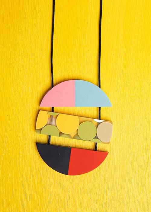 Sylca, color block necklace