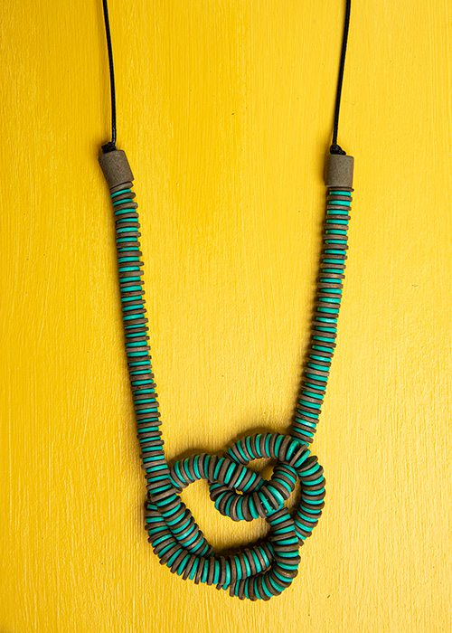 Sylca, teal beaded knot necklace