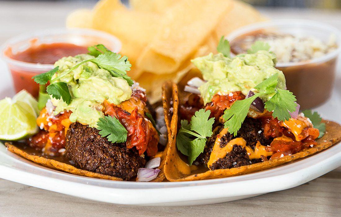 Kimchi Falafel Tacos from The Wheelhouse in Springfield MO