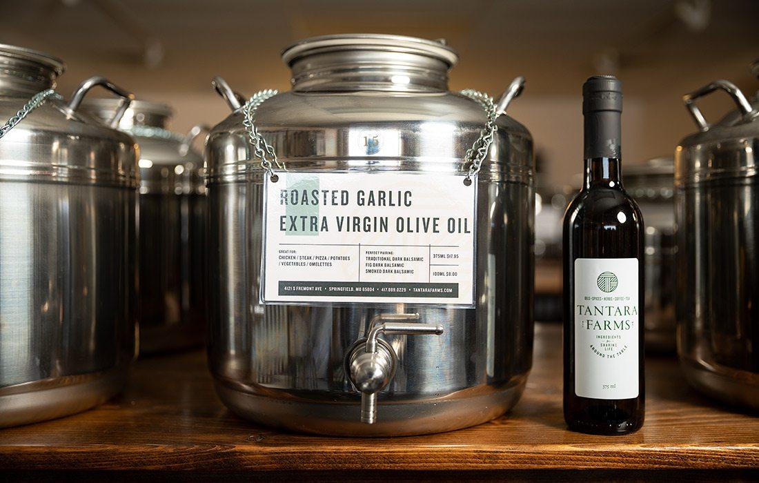 Roasted garlic-infused extra virgin olive oil at Tantara Farms in Springfield MO
