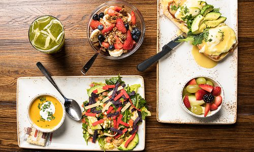 fruit, butternut squash, Chicken Avocado Chop salad, BLT benedict and juice in Springfield MO