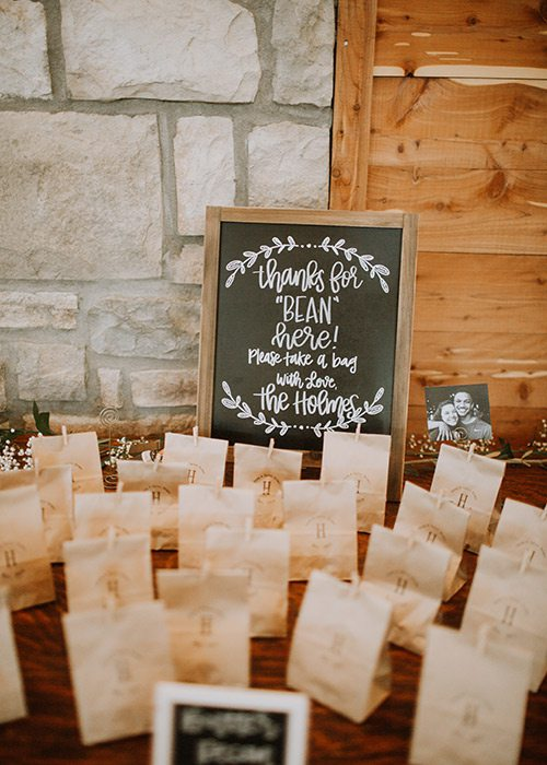 Taylor Abraham & Corey Holmes' wedding guest gifts