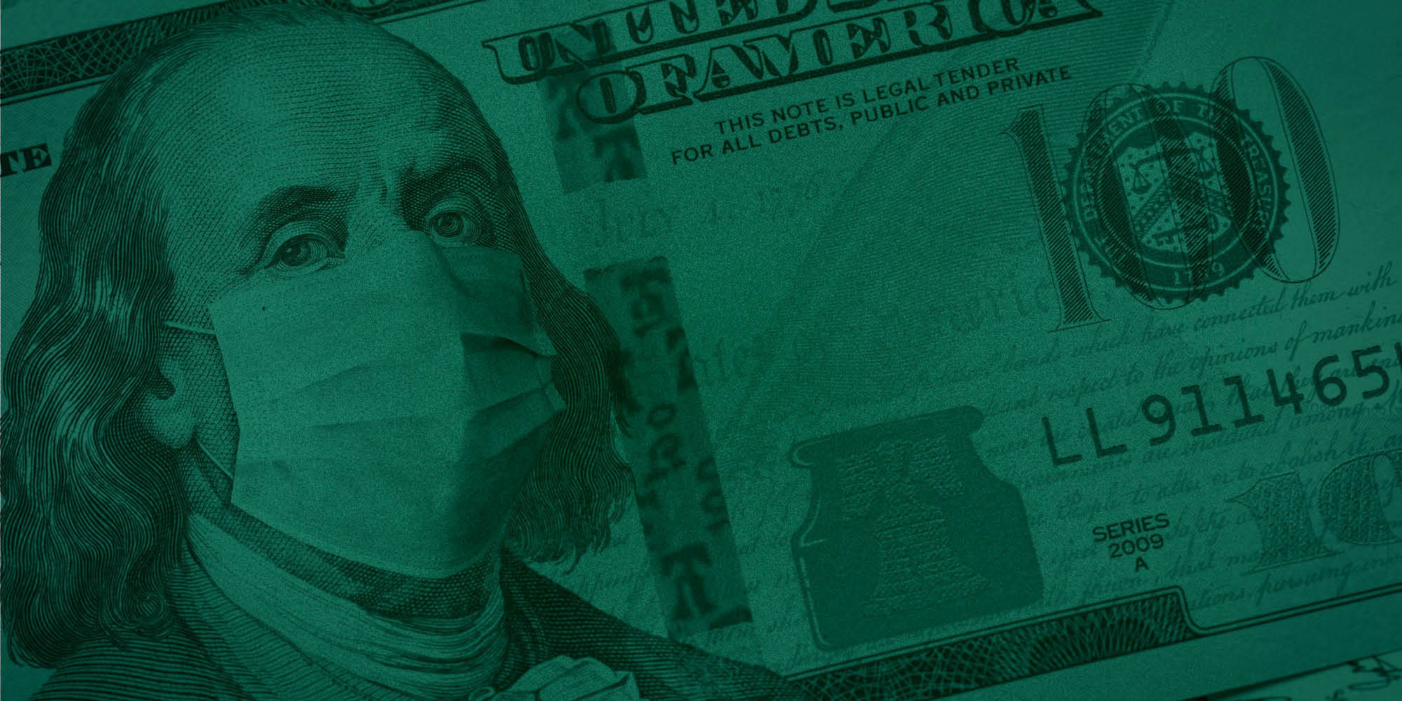 $100 bill with a mask over Benjamin Franklin's face
