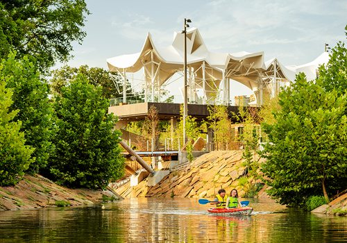 Kayak on the Arkansas River by The Gathering Place in Tulsa, OK