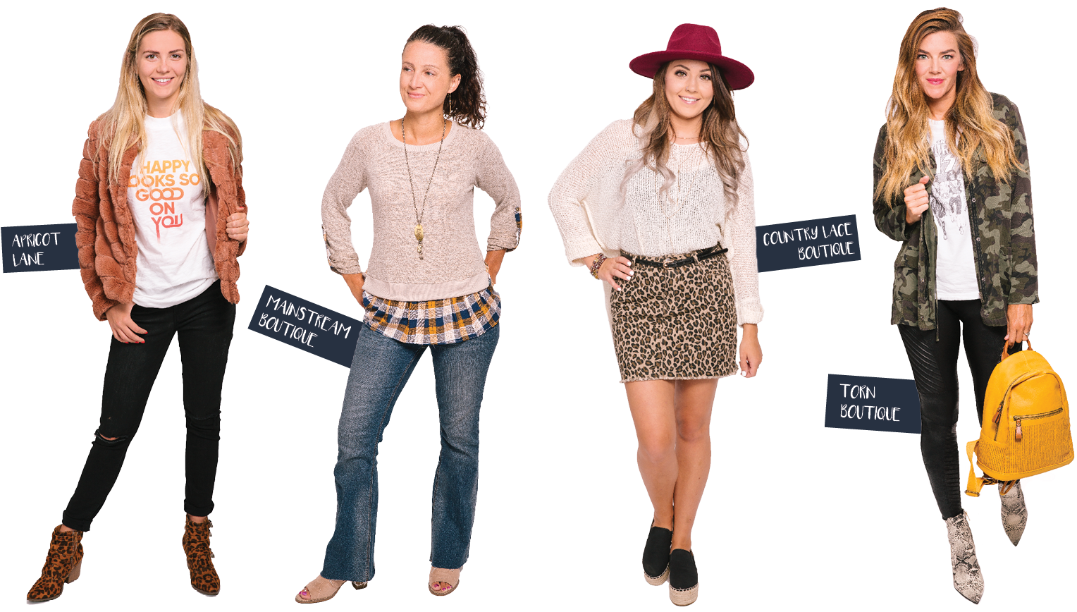 Styles by Apricot Lane, Mainstream Boutique, Country Lace Boutique and Torn Boutique
