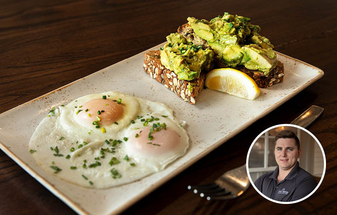 Avocado toast and basted eggs from First Watch