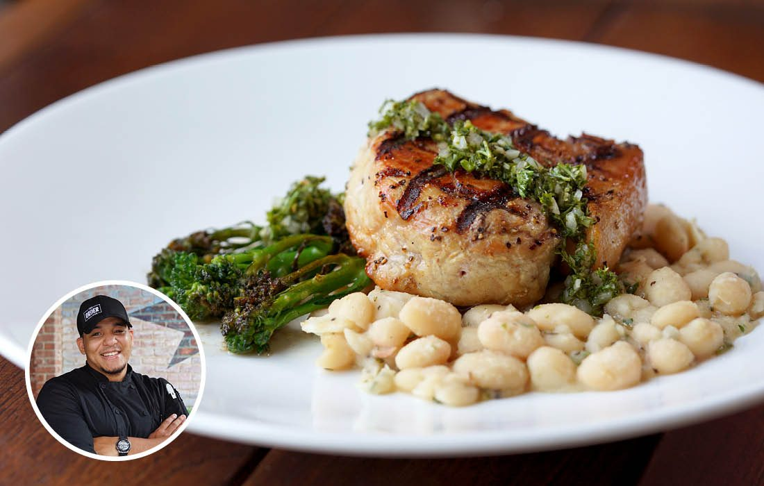 Grilled pork loin with herb mojo, white beans and broccolini from The Order in Hotel Vandivort in Springfield MO