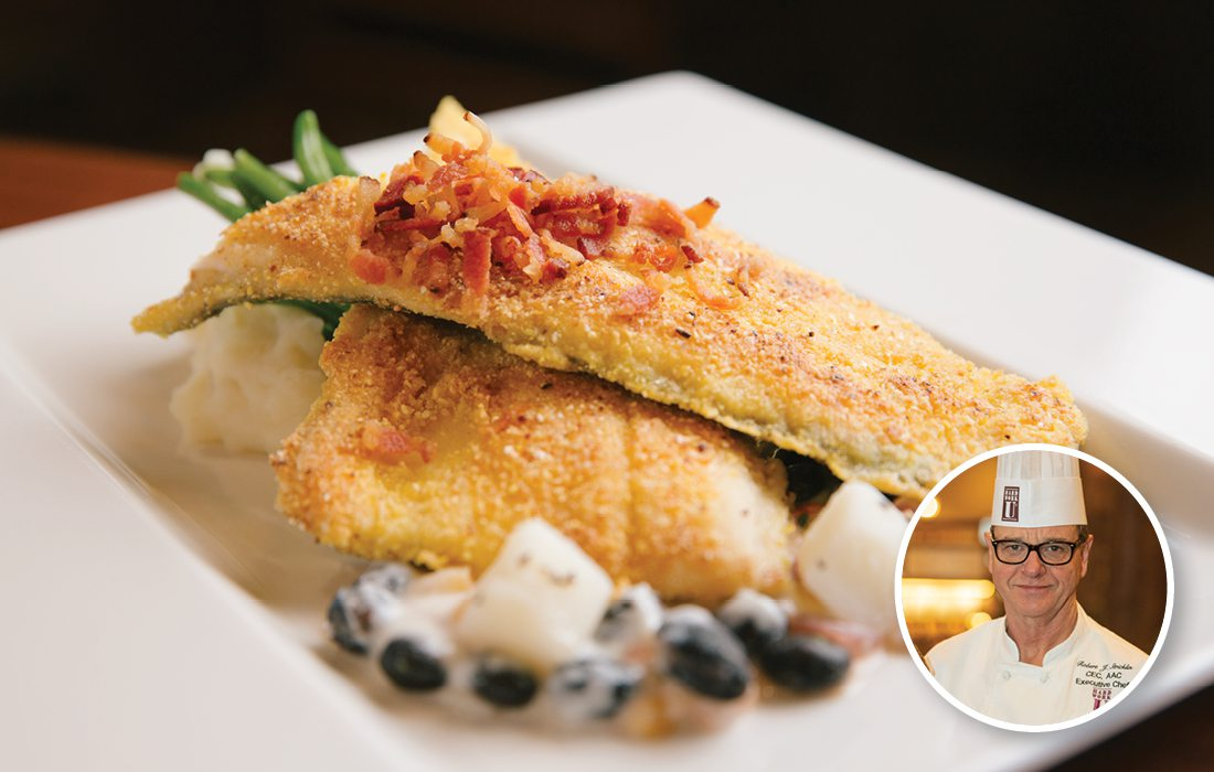 Local Ozark Trout Pan-Seared with Edward's Mill Cornmeal Crust, Served with Corn, Black Bean, and Bacon Chowder at The Keeter Center