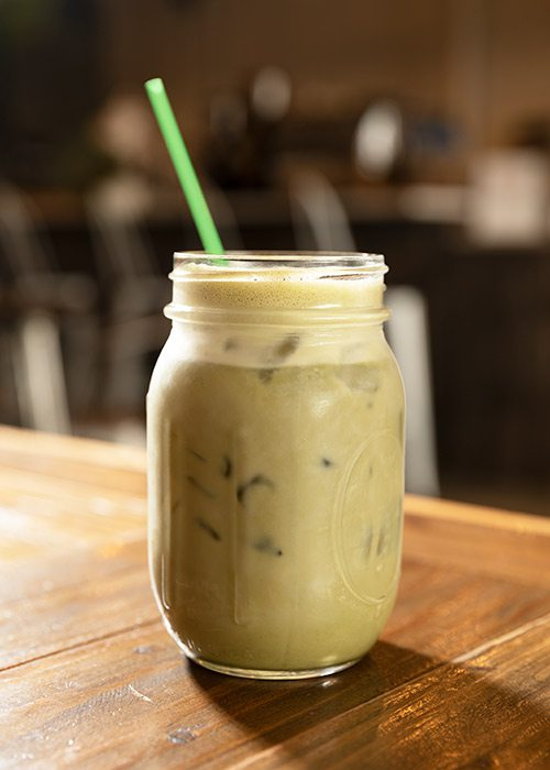 Iced Matcha Latte with Oat Milk at The Press Coffee and Juice Bar in Springfield MO