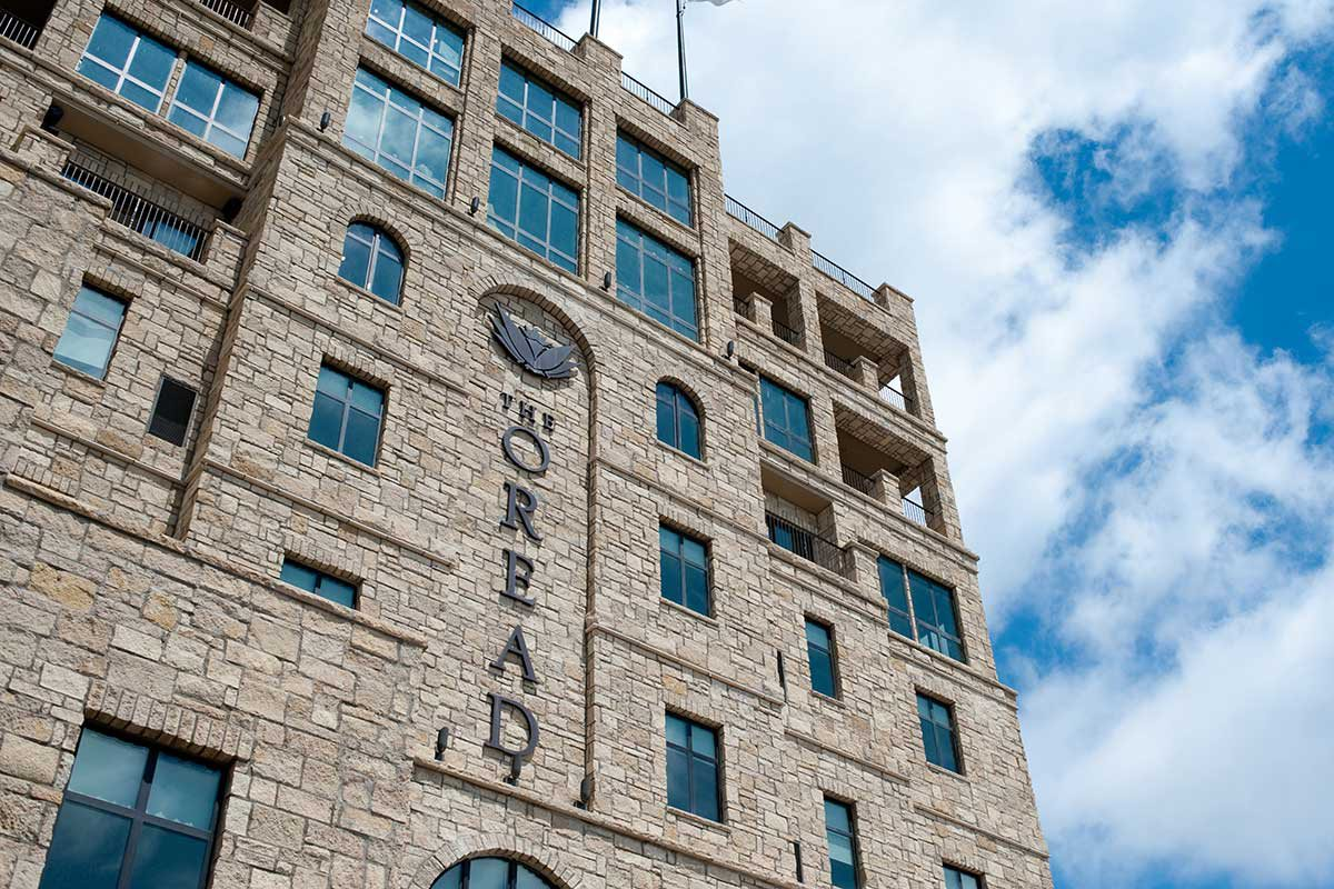 angled view of the front of The Oread hotel