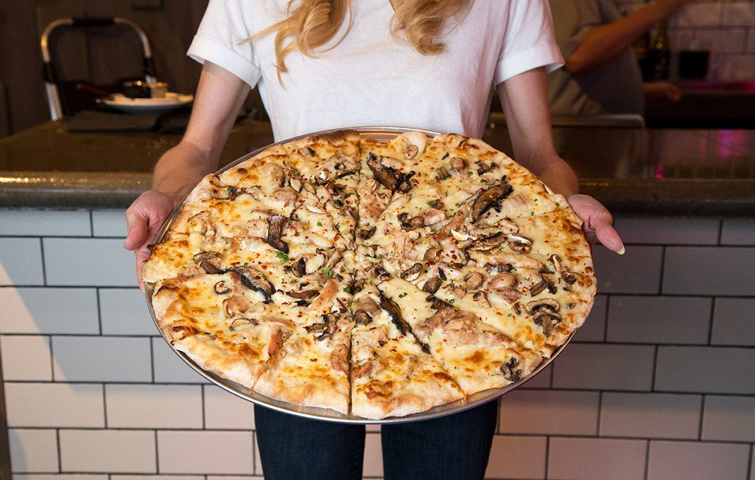 The Creamy Chicken and Mushroom Pizza from The Pitch