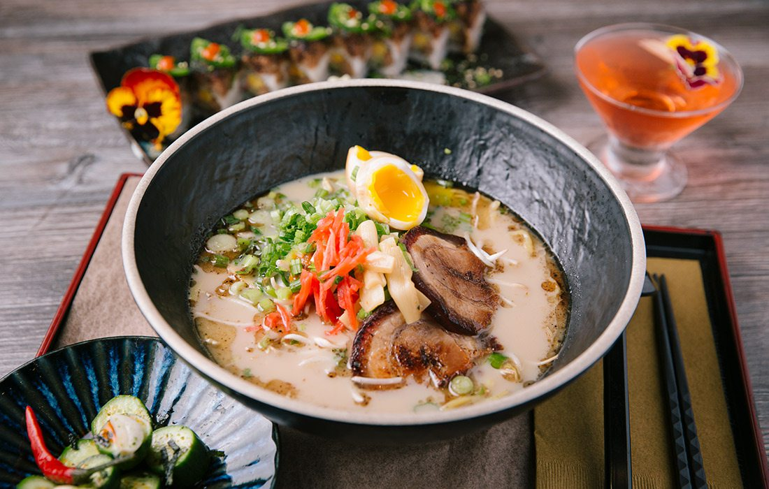 Brightly colored bowl of ramen